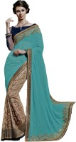 Ewows Embroidered, Embellished Fashion Georgette Saree(Light Blue)