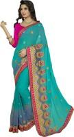 Khoobee Self Design, Embroidered, Embellished Fashion Poly Georgette Saree(Light Blue, Green)