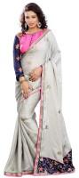 Florence Embroidered Fashion Satin Saree(White)