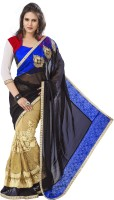 Khushali Self Design, Embroidered Fashion Net, Georgette Saree(Black, Beige, Multicolor)
