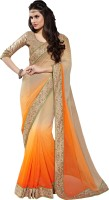 Khoobee Self Design, Embellished Fashion Chiffon Saree(Beige, Orange)