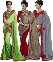 Indian Women By Bahubali Embellished Fashion Crepe Saree(Pack of 3, Multicolor)