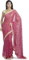 Ethnic Bliss Lifestyles Self Design Phulkari Handloom Chiffon Saree(Pink, Multicolor)