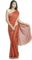 Ethnic Bliss Lifestyles Self Design Phulkari Handloom Chiffon Saree(Red, Multicolor)