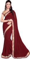 Sourbh Sarees Self Design, Solid, Printed Fashion Georgette Saree(Maroon)