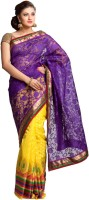 Kataan Bazaar Self Design Banarasi Net Saree(Purple)
