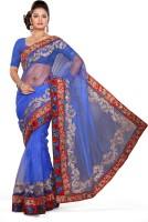 De Marca Floral Print Fashion Net Saree(Blue, Red)