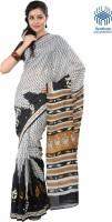 Tantuja Solid Fashion Handloom Silk Saree(Silver, Black)