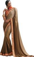 Viva N Diva Solid Fashion Chiffon Saree(Green)