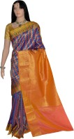 Lakshmi Lifestyle Self Design Kanjivaram Handloom Silk Saree(Multicolor)