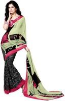 Khoobee Printed Fashion Poly Georgette Saree(Multicolor, Green, Black)