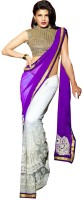 Welcome Fashion Solid Bollywood Handloom Georgette, Net Saree(Purple, White)