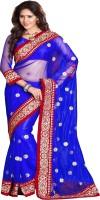 Sourbh Sarees Self Design Fashion Georgette Saree(Blue)