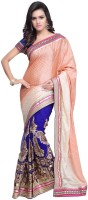 JTInternational Self Design Bollywood Brasso Saree(Multicolor)
