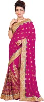 M.S.Retail Embroidered Fashion Chiffon Saree(Pink)