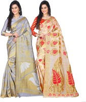Weavedeal Embellished Kanjivaram Silk Cotton Blend Saree(Pack of 2, Grey, Beige)