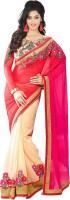 Krishna Fab Embroidered Bollywood Handloom Viscose Saree(Pink, Beige)