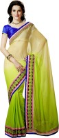 Rajshri Fashions Solid Fashion Georgette Saree(Green)