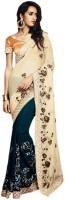 Vishal Printed Fashion Crepe Saree(Blue)