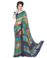 Suvastram Printed Fashion Poly Crepe Saree(Multicolor)