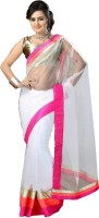 Indianbeauty Self Design Bollywood Net Saree(White)