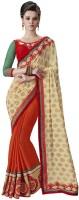 Desi Butik Embellished Fashion Jacquard, Chiffon Saree(Beige, Orange)