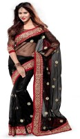 Mirchi Fashion Embroidered Bollywood Net Saree(Black, Red)