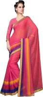 Desi Look Printed Daily Wear Chiffon Saree(Pink)