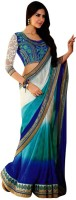 Dancing Girl Embroidered Bollywood Georgette Saree(Blue)