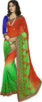Khoobee Self Design, Embroidered, Embellished Fashion Poly Georgette Saree(Red, Green)