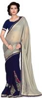 Khoobee Self Design, Embroidered, Embellished Fashion Chiffon Saree(Blue, Grey)