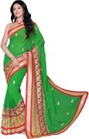Jiya Self Design, Embroidered, Embellished Fashion Poly Georgette Saree(Red, Green, Beige)