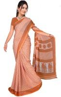 Jiya Self Design Fashion Poly Georgette Saree(Orange)