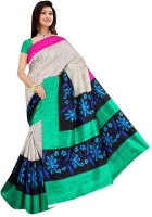 Jiya Self Design, Printed Fashion Poly Silk Saree(Multicolor, White, Green, Black)