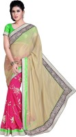 Khoobee Self Design, Embroidered Fashion Poly Georgette, Chiffon Saree(Pink, Beige)