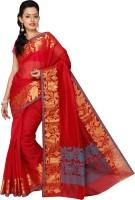 Pavechas Solid Banarasi Cotton, Silk Saree(Red)