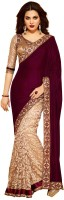 Aksh Fashion Embroidered, Solid Fashion Velvet Saree(Brown, White)