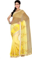 Saree Swarg Self Design Bollywood Chiffon Saree(Beige, Yellow)