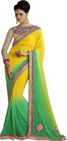 Melluha Embroidered Fashion Georgette Saree(Yellow)