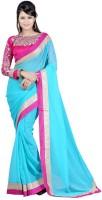 Jhalak Self Design Bollywood Chiffon Saree(Light Blue)