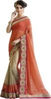 Saara Embroidered Fashion Chiffon Saree(Orange, Beige)