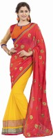 Khushali Self Design, Embroidered Fashion Georgette Saree(Pink, Yellow, Multicolor)