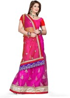De Marca Printed Fashion Net Saree(Pink, Red)