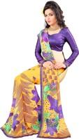 Jiya Self Design, Printed Fashion Poly Georgette Saree(Multicolor, Purple, Yellow)