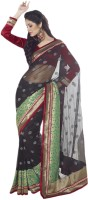 Vishal Solid Fashion Net Saree(Black)
