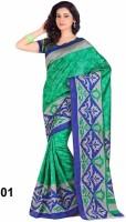 Vandv Shop Printed Bhagalpuri Handloom Poly Silk Saree(Green)