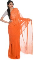 Aaradhya Fashion Printed Leheria Handloom Poly Georgette Saree(Orange)