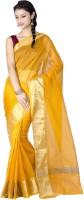 Chandrakala Solid Banarasi Banarasi Silk Saree(Gold)