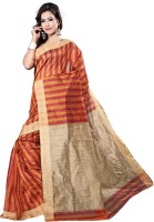 Vastrakala Striped Banarasi Cotton, Silk Saree(Maroon, Yellow)