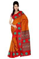 Indrani Printed Fashion Silk Saree(Orange, Red)